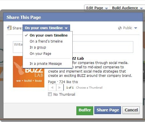 Share your Facebook Page on your timeline