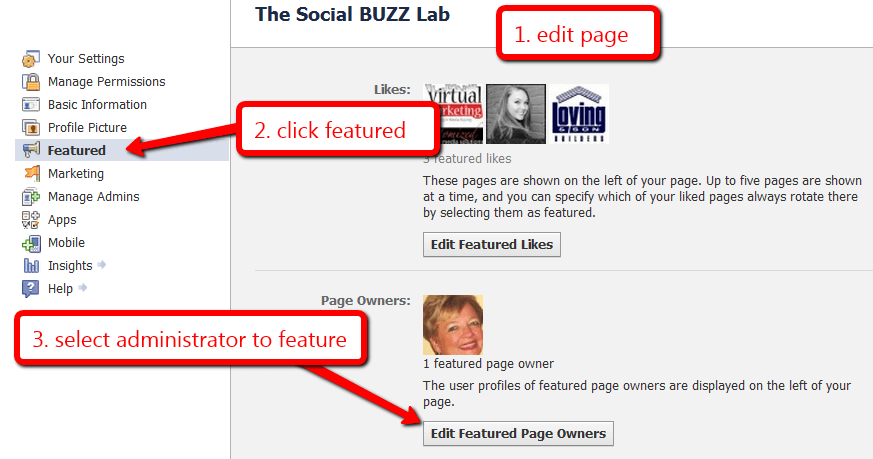 How to show Facebook page owners