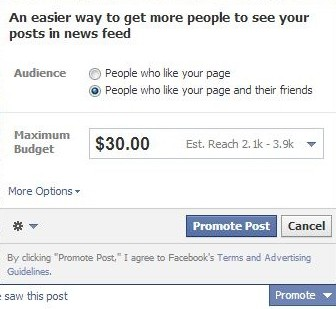 Promote Facebook posts to engage and get more likes
