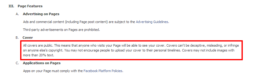 Facebook Policy for Page Cover Images